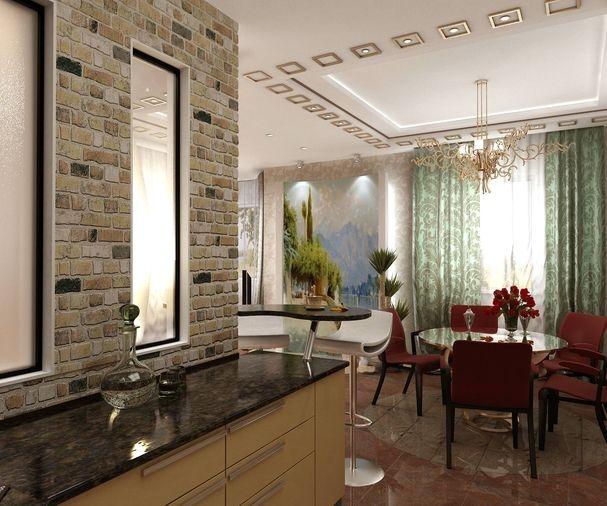 Гостиная столовая-кухня совмещенная с лоджией..